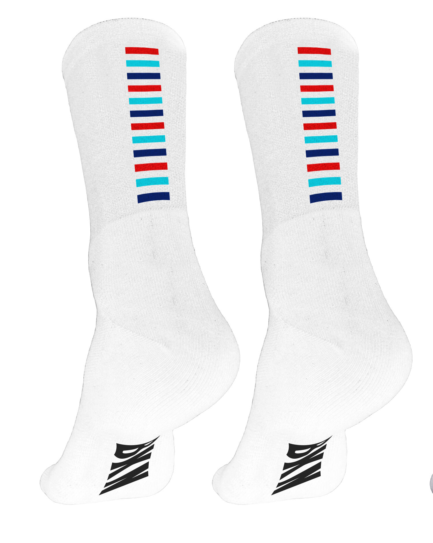 White with 3 coloured steps-stripes