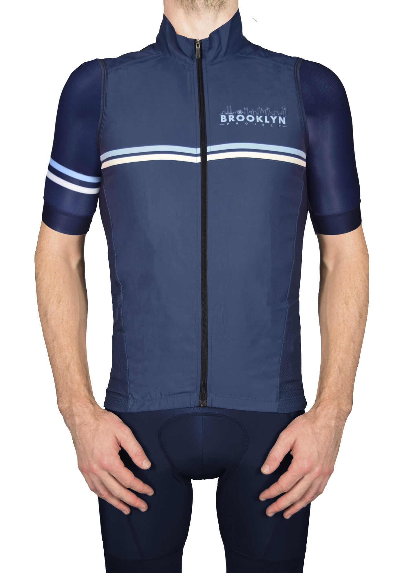 BKN Navy Vest FRONT with Navy Sleeves
