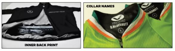 Inner back print and collar names