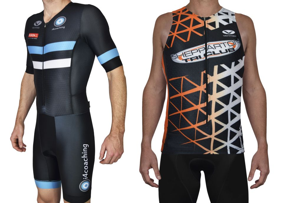 Shep Tri Club tri singlet front and i4 coaching sleeved suit front