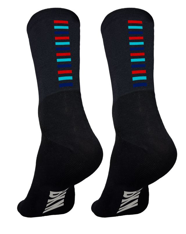 Black with 3 coloured steps-stripes