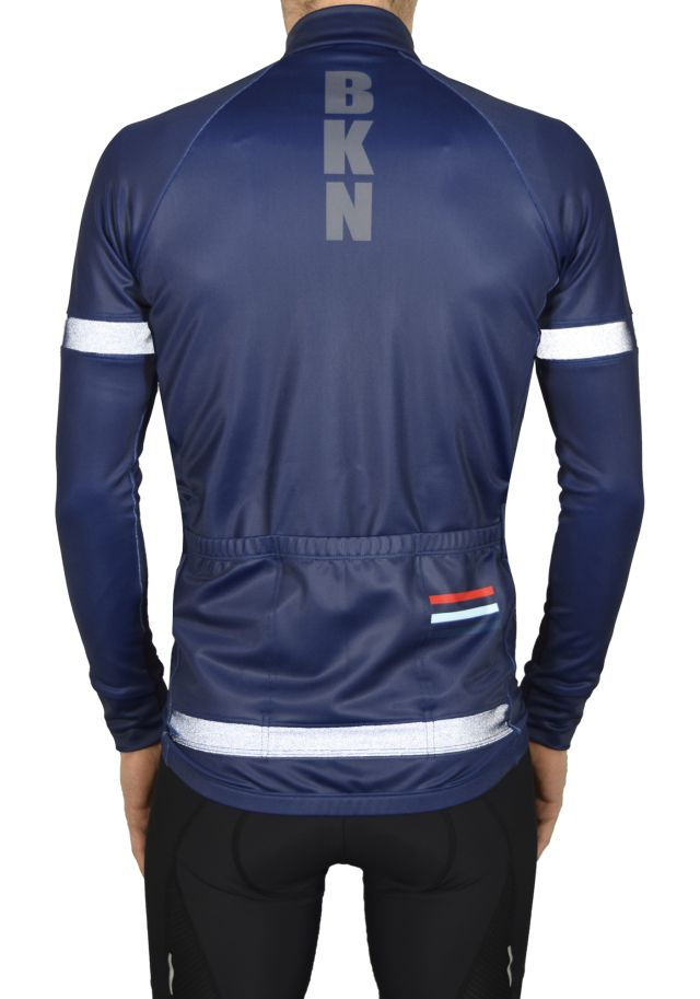 BKN Navy Reflective Jacket BACK_Reflective ON